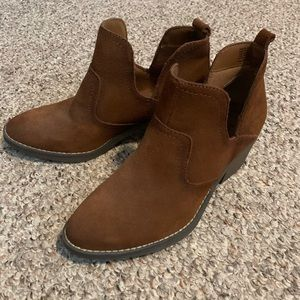 Brown faux suede ankle boots